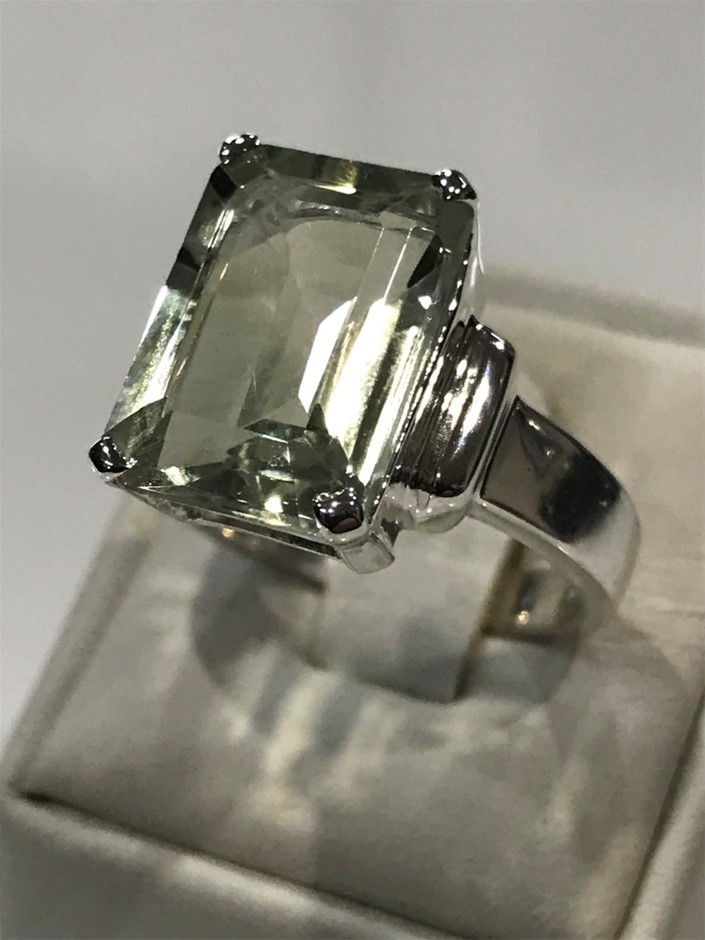 Truly Magnificent 7.25Ct Green Amethyst Solitaire Ring