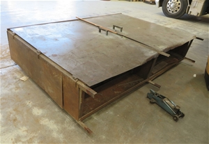 Large 2 door steel fabricated cabinet, a
