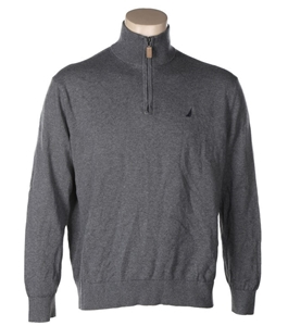 NAUTICA Men`s Zip Neck Sweater , Grey. L