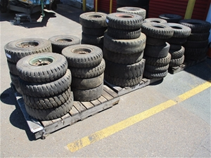Qty 63 x Assorted Forklift Tyres and Whe