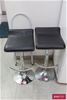 2 x Gas Lift Stool Black Leatherette with Chrome Base, Foot Rest & Stem