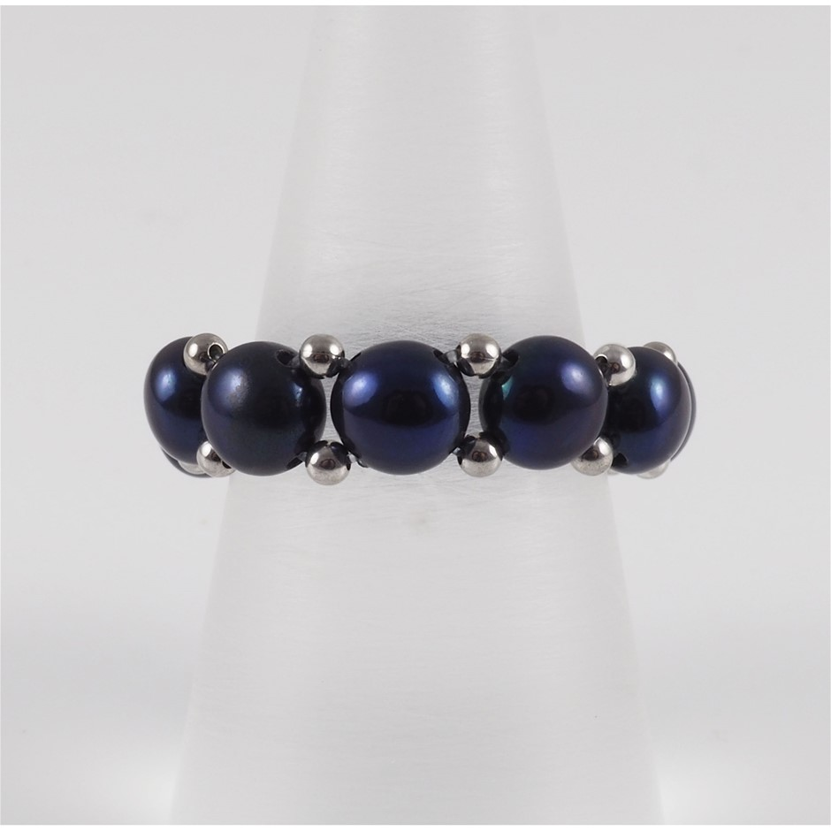 Natural Black Freshwater Pearl & Sterling Silver Adjustable Ring