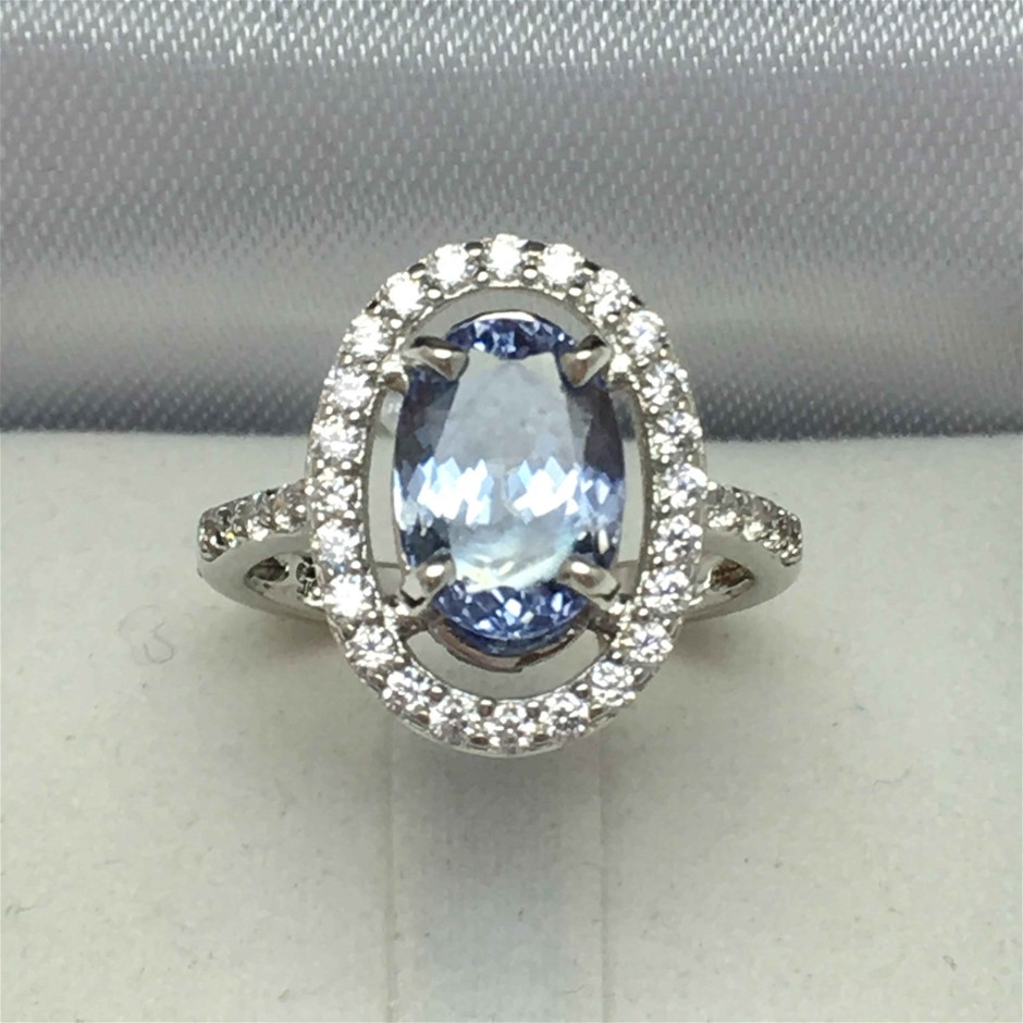 2.50ct Tanzanite and Cubic Zirconia Ring