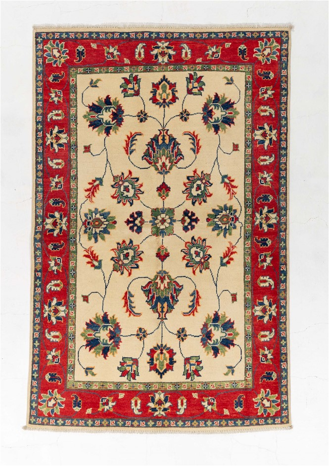 Afghan Kazak Tribal Hand Knotted Pure Wool Pile Size (cm): 120 x 180