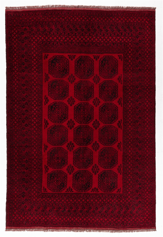 Afghan qoundozi Hand Knotted Pure Wool Pile Size (cm): 205 x 305