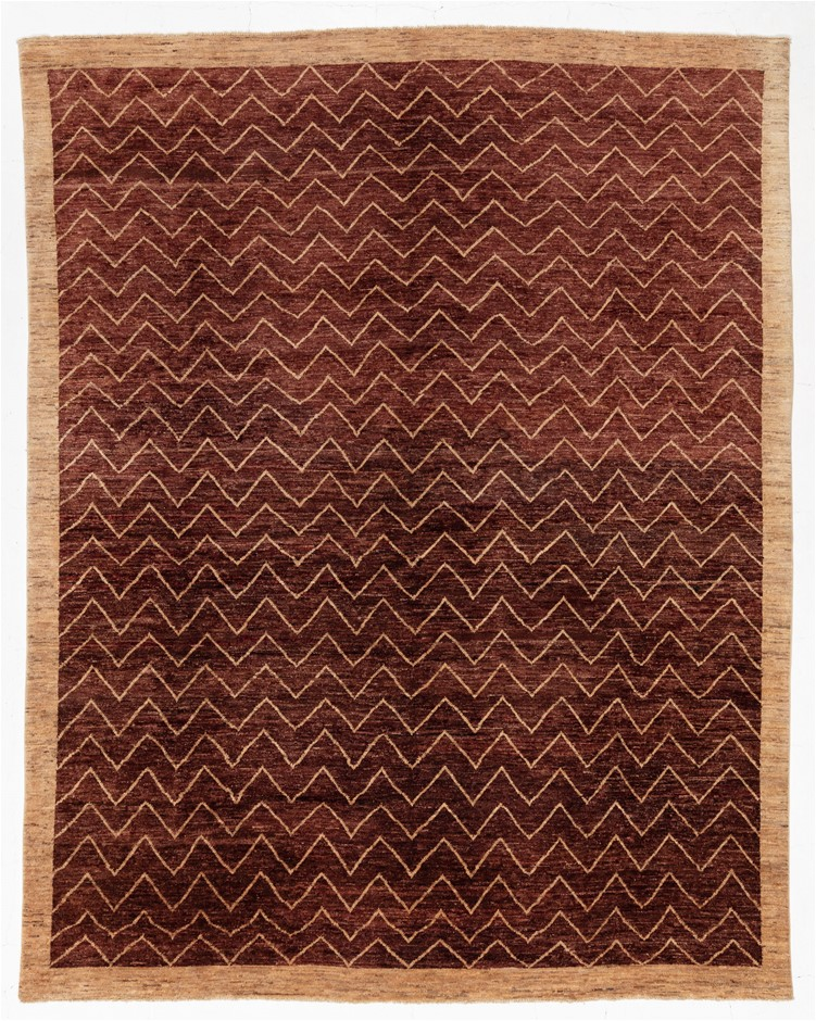 Afghan Gabbeh Stripy Hand Knotted Pure Wool Pile Size (cm): 240 x 300