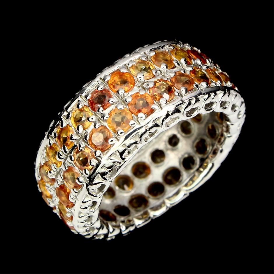 Gorgeous Genuine Orange sapphire Eternity Ring.