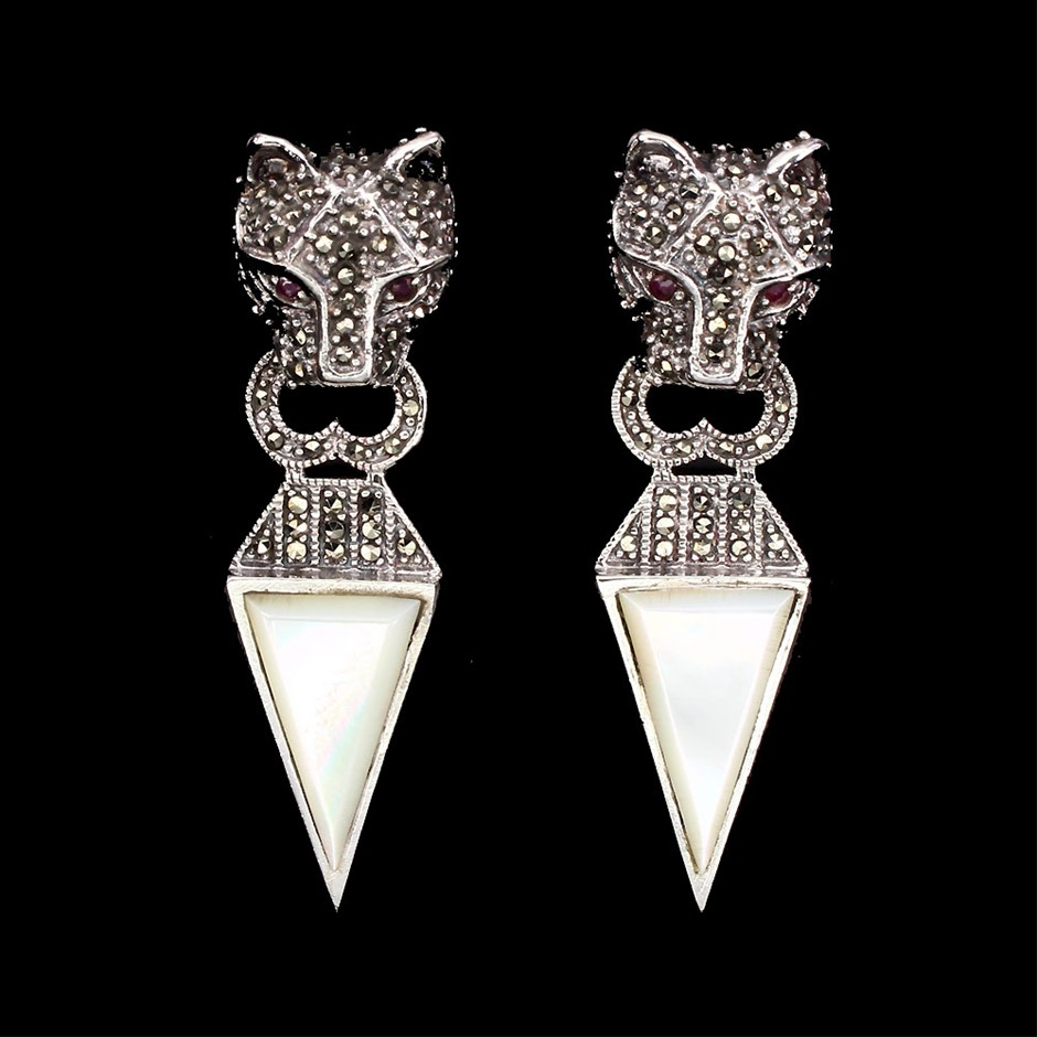 Unique Genuine Ruby Tiger earrings
