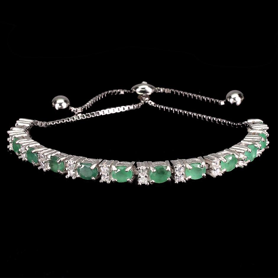 Beautiful Genuine Emerald Tennis Bracelet.