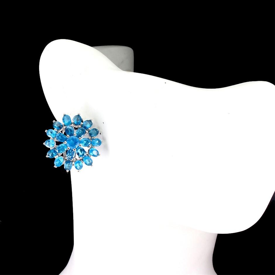 Beautiful Genuine Apatite Huggie earrings.