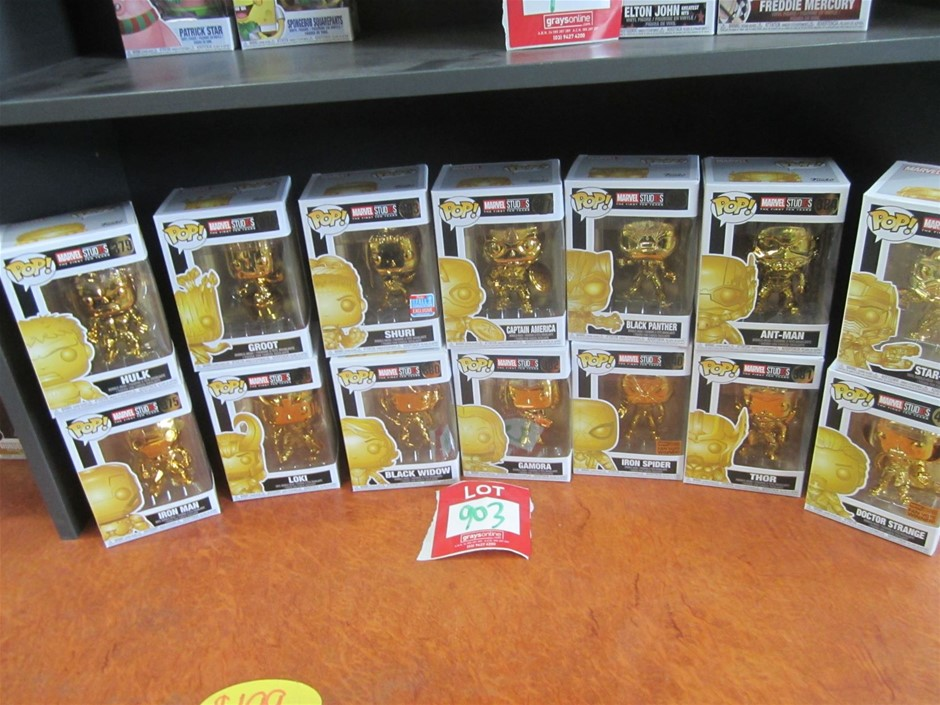 Collection of 14 Funko Marvel Studios Gold Figures.