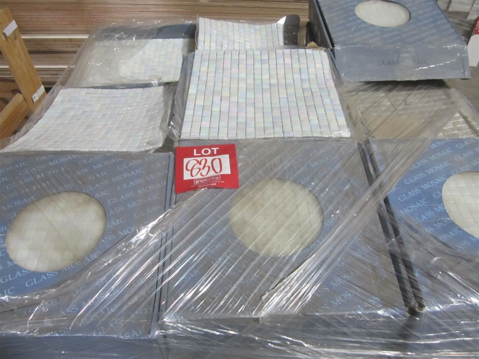 Box of Pearl Glass Mosaic Tiles. 295mm x 295mm sheets.