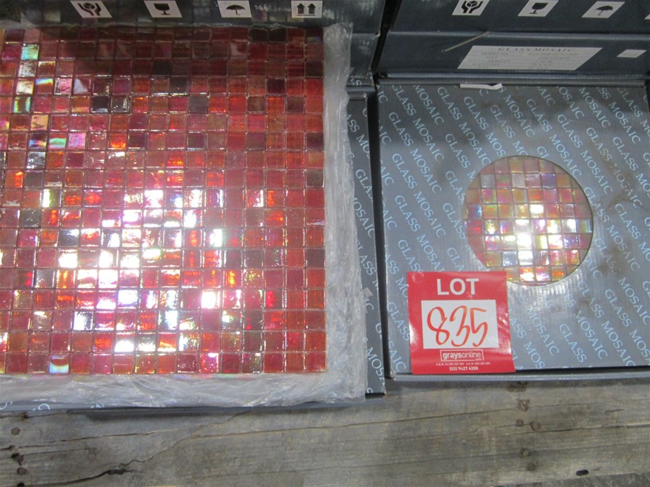 Box of Red Glass Mosaic Tiles. 295mm x 295mm.