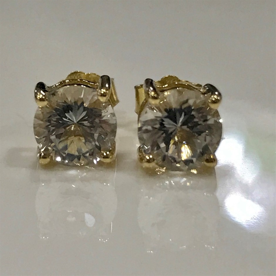 "Solid 9K Gold ""Killiecrankie Diamonds"" 2ct (Flinders Island Topaz) Earrings"