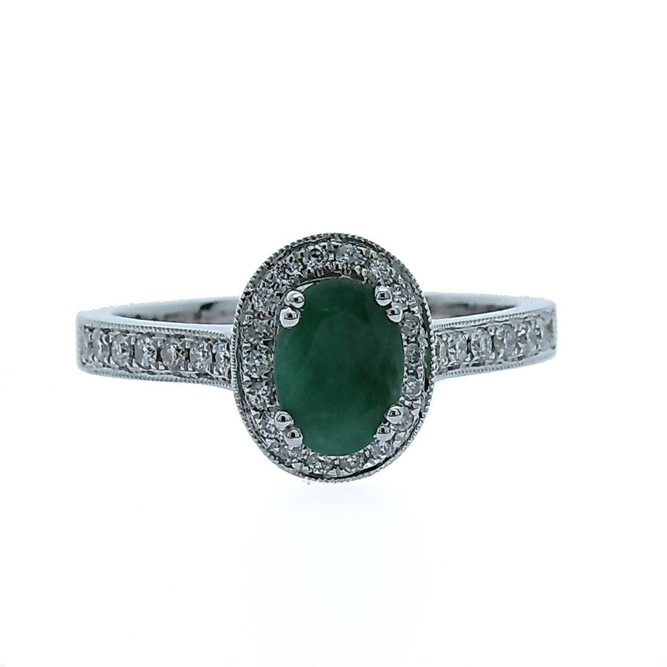 9ct White Gold, 1.07ct Emerald and Diamond Ring