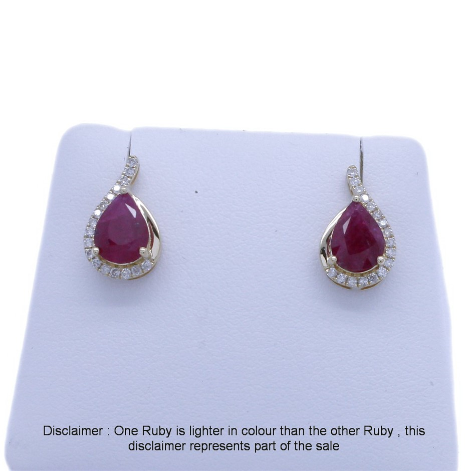 9ct Yellow Gold, 2.55ct Ruby and Diamond Earring