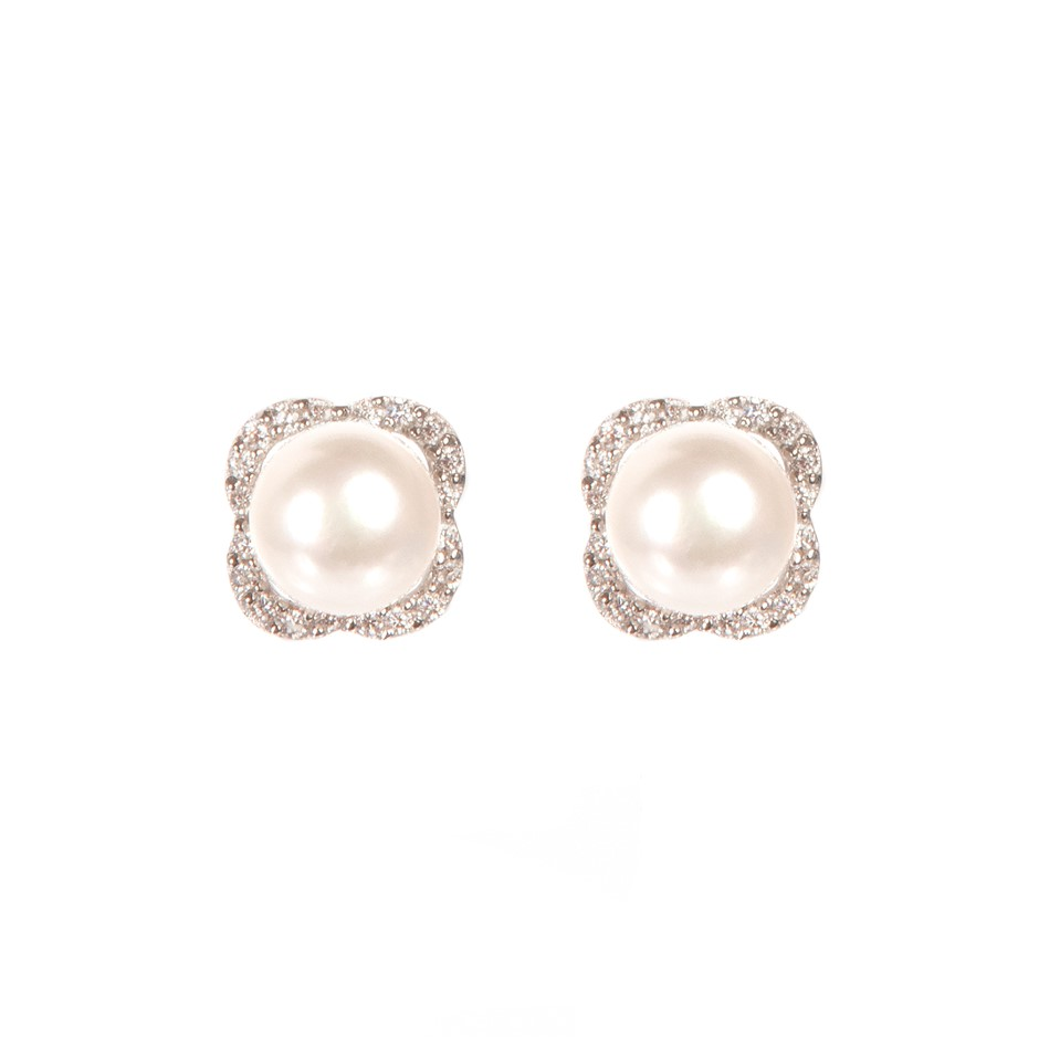 Natural Freshwater White Button Pearl & Cubic Zirconia Set Earrings