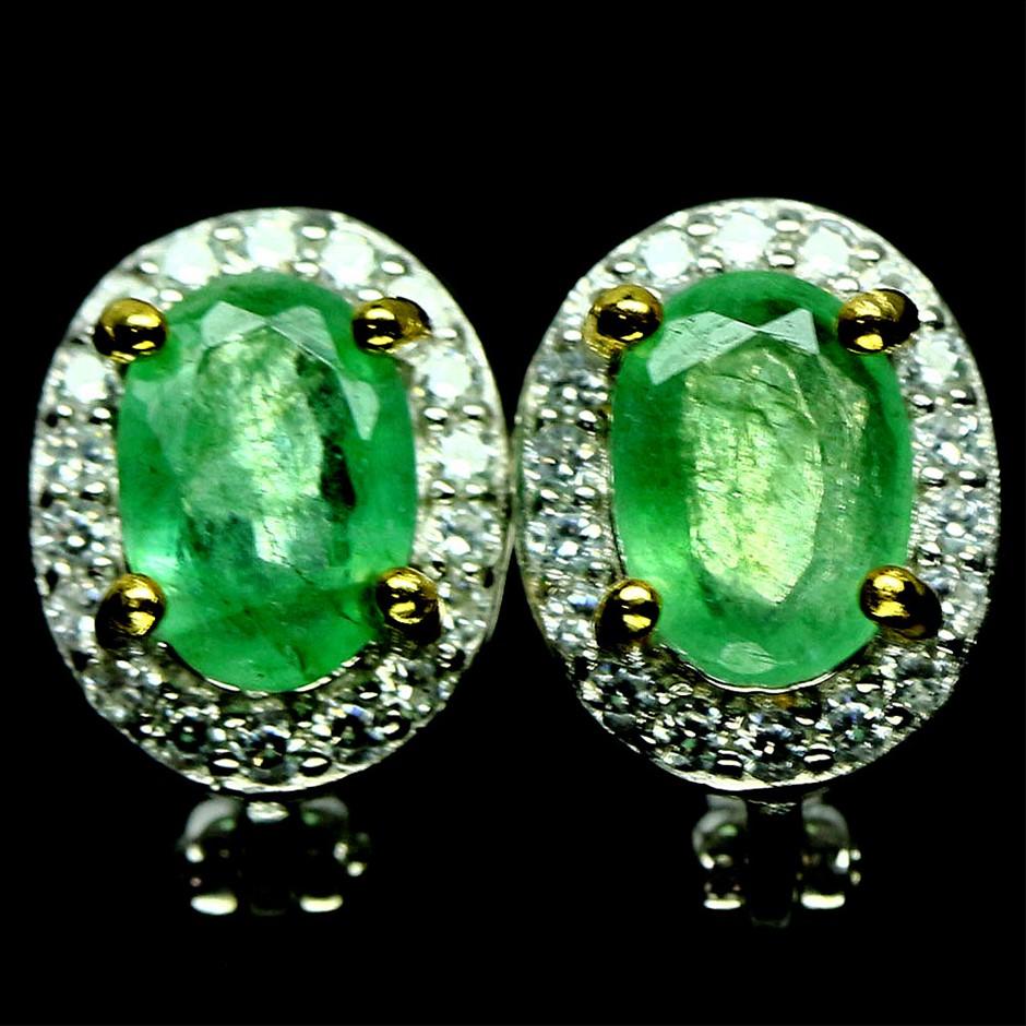 Gorgeous Genuine Emerald Huggie Earrings.