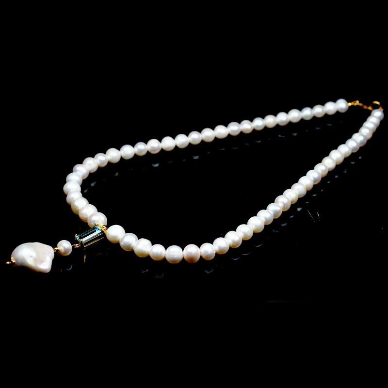 Gorgeous Unique Genuine Pearl & Topaz Necklace.