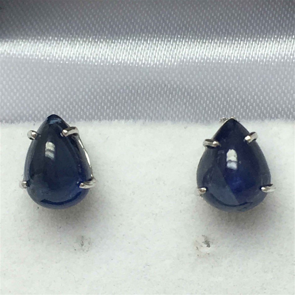 18ct White Gold, 2.55ct Blue Sapphire Earring