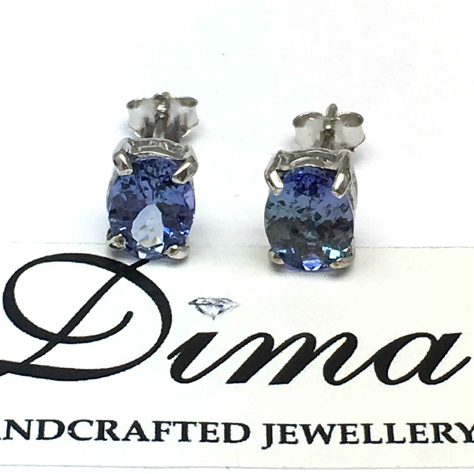 18ct White Gold, 2.92ct Tanzanite Earring