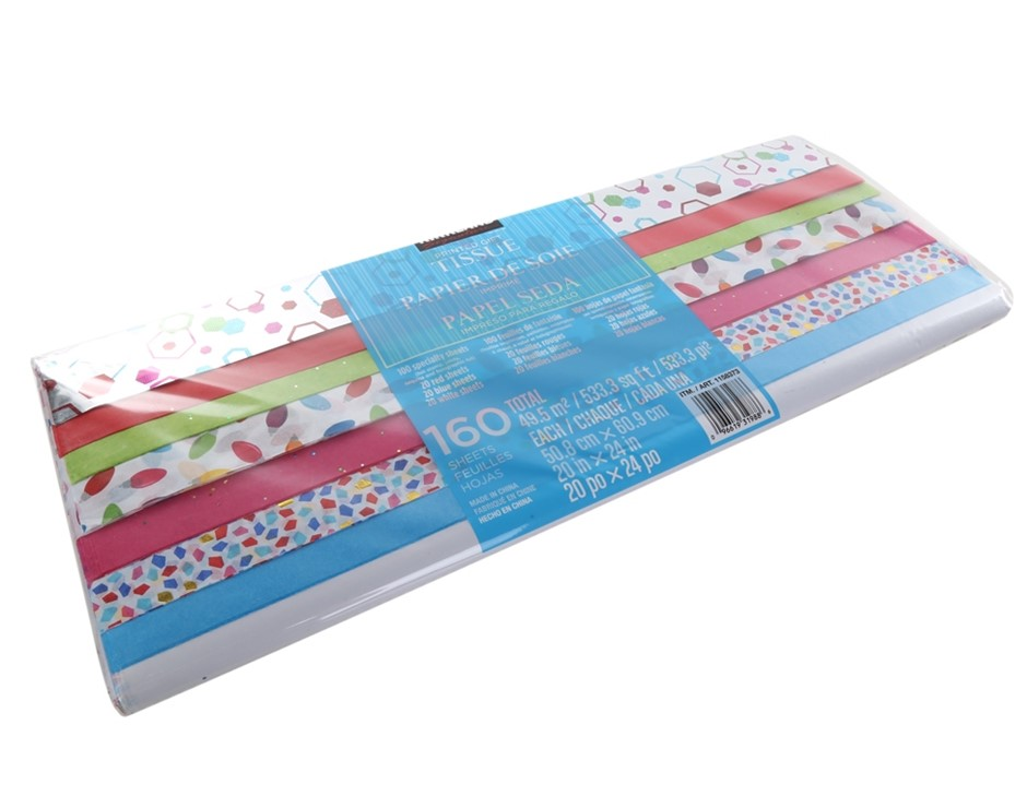 2 x Packs of 160 Sheets x Gift Wrap Tissue Paper, 50cm x 60cm, Assorted Col