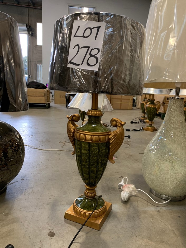 60cm Grecian Gold and Green Lamp with Organza shade