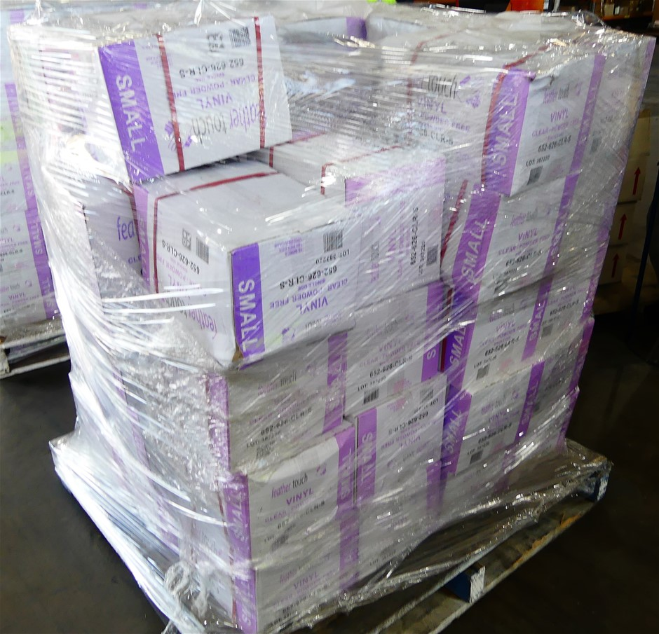 Pallet of 48 Cartons of Glove Disposable Vinyl SML Powder Free Clear
