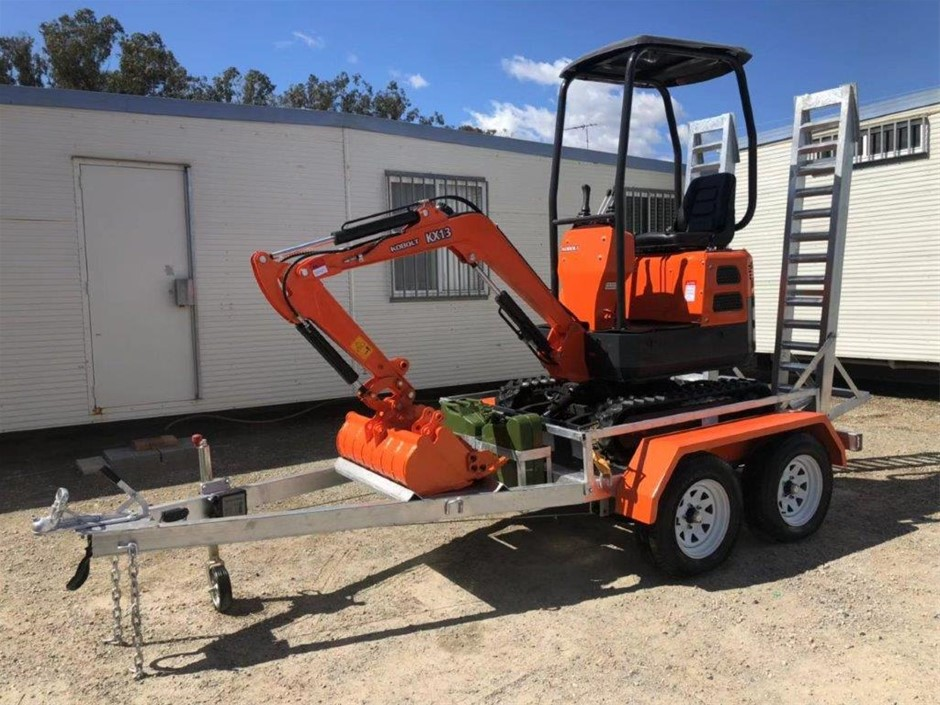 KOBOLT Excavator 2019 Mini KX13 with 2019 Plant Trailer