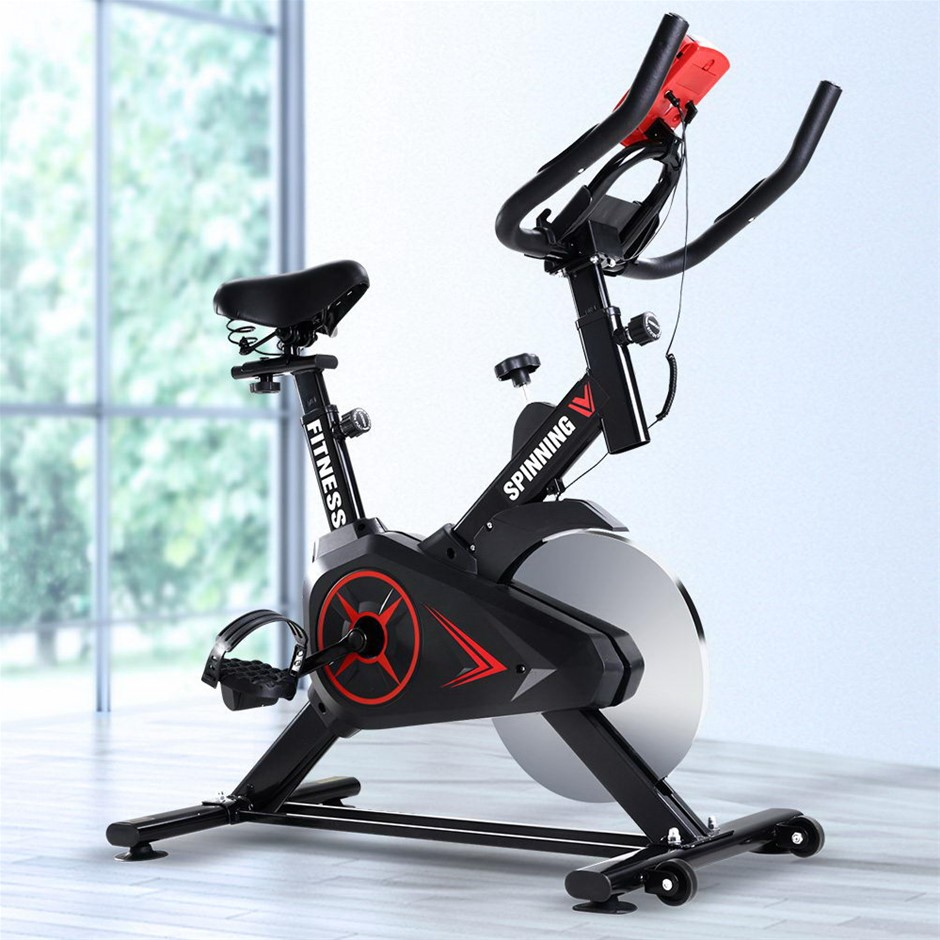 Spin Exercise Bike Flywheel Fitness Workout Gym Phone Holder Black