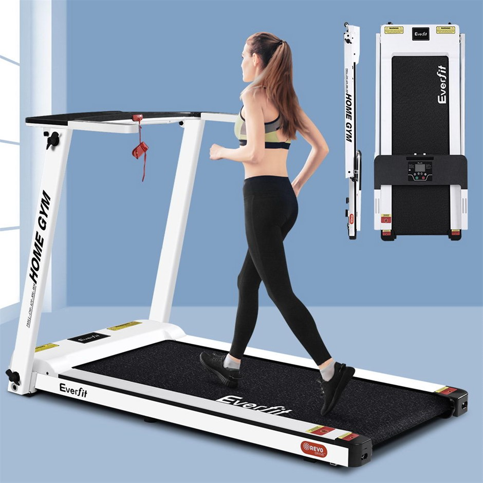 Everfit Electric Treadmill Home Gym Compact Fully Foldable 420mm Belt White