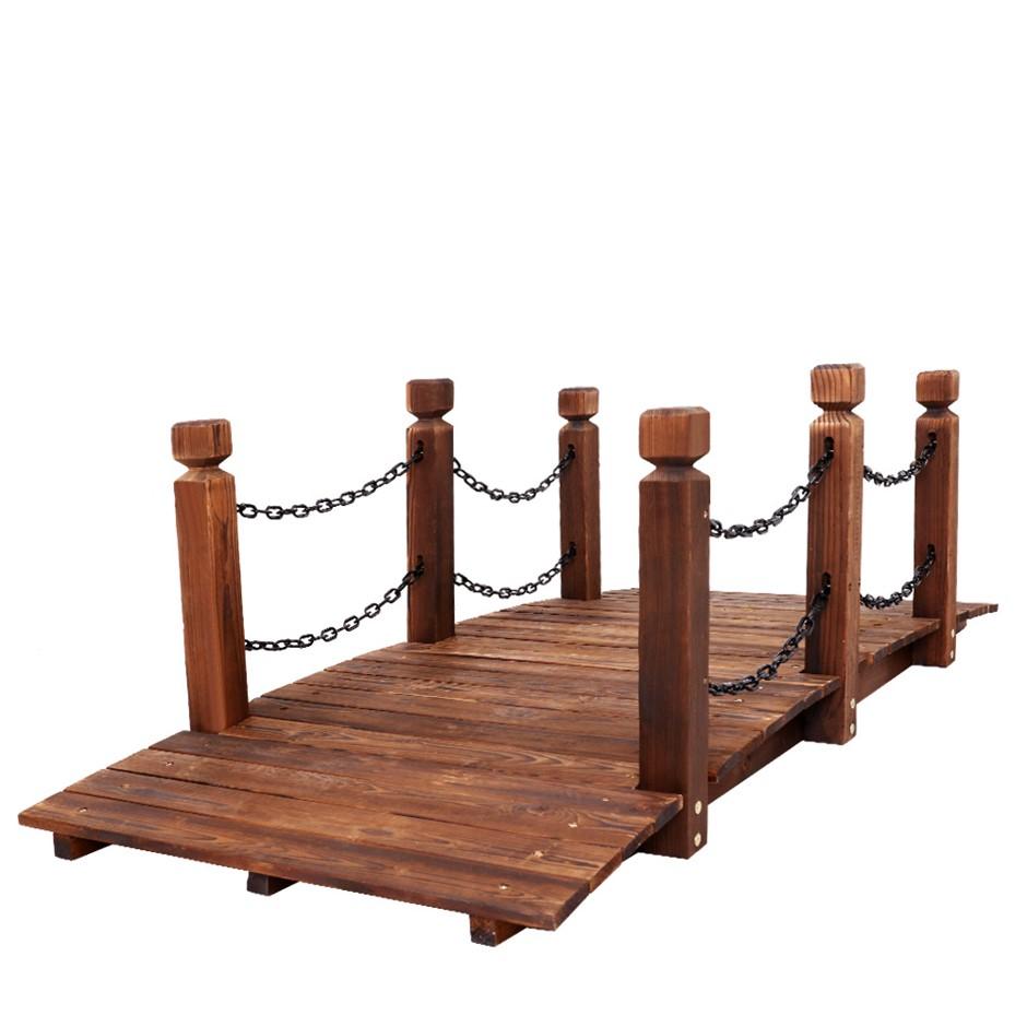 Garden Rustic Chain Bridge Wooden Decoration Decor Landscape 160cm