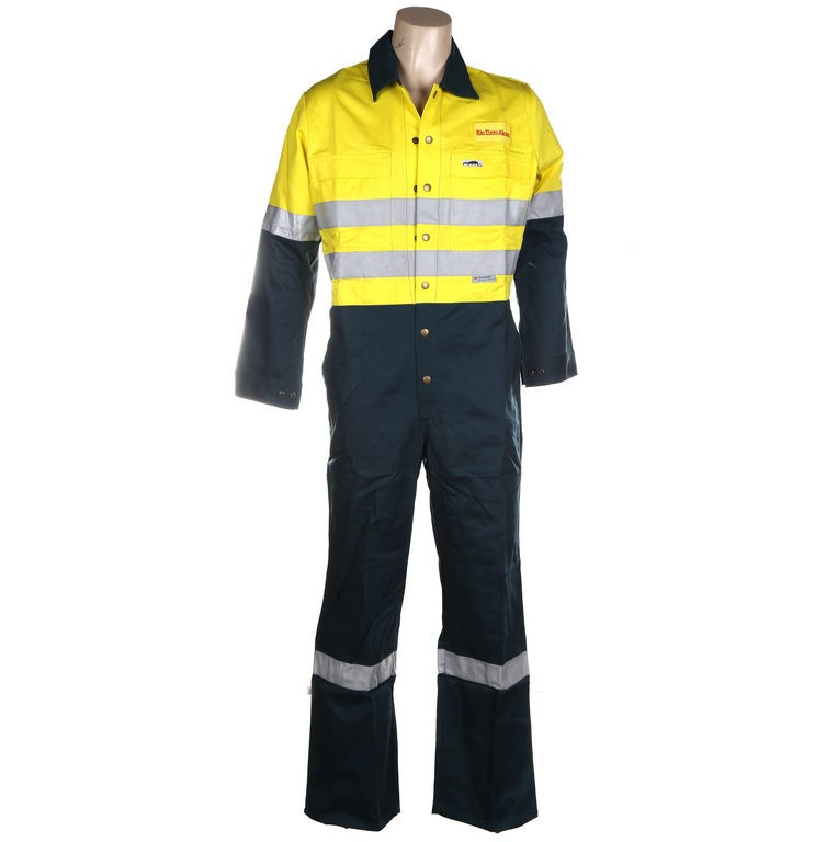 2 x Pairs Cotton Drill Hi-Vis Work Coveralls, Size 107R, Single Band 3M Ref