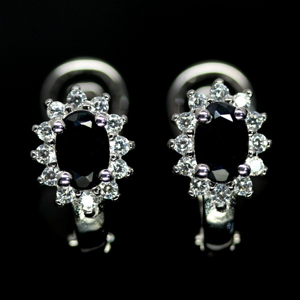 Genuine Midnight Blue Sapphire Huggie Earrings.
