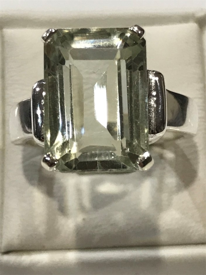 Truly Magnificent 7.25Ct Green Amethyst Solitaire Ring Size P 1/2 (8)