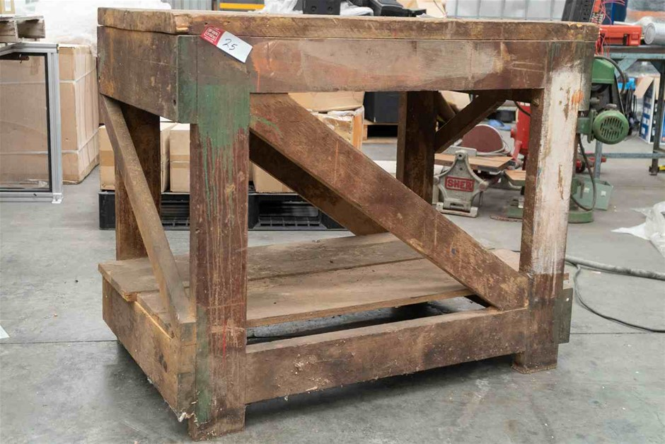 Heavy Duty Timber Bench with Shelf and 40mm Hardwood Top