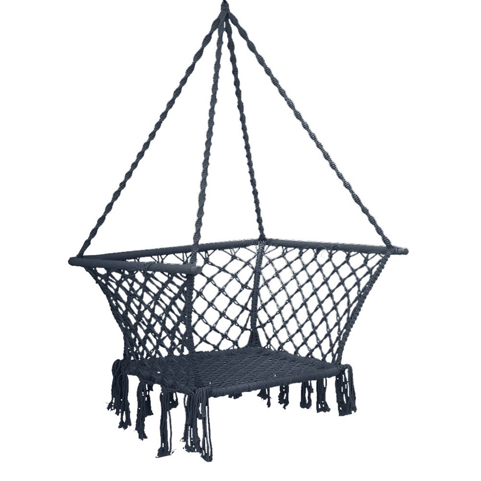 Gardeon Camping Hammock Chair Patio Swing Hammocks Portable Cotton Grey