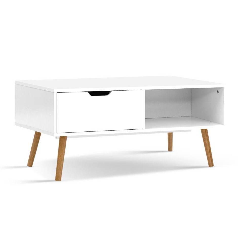 Artiss Coffee Table Storage Drawer Open Shelf Wooden Legs White