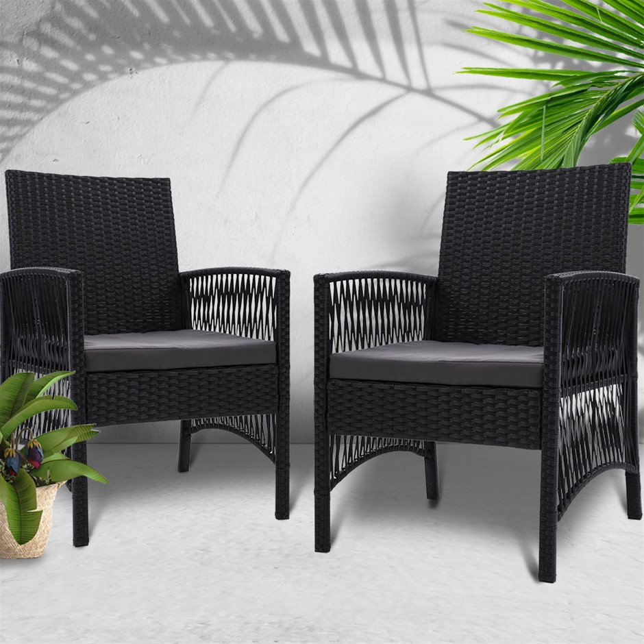 Gardeon 2x Outdoor Furniture Dining Chairs Rattan Garden Cushion Black