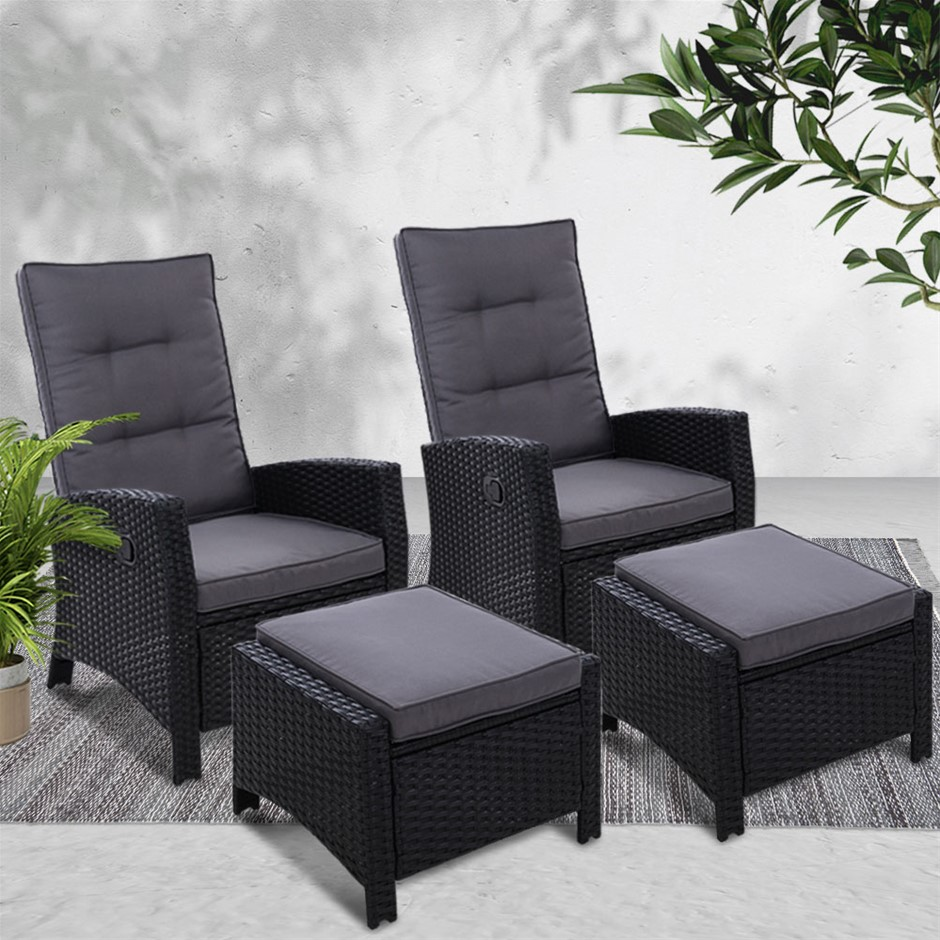 Gardeon Sun lounge Recliner Chair 2PC Wicker Outdoor Furniture Patio Garden
