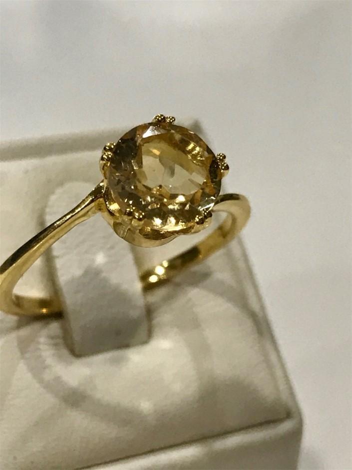 Brilliant 2.00ct Citrine & 18K Gold Vermeil Ring. Size R 1/2 (9)