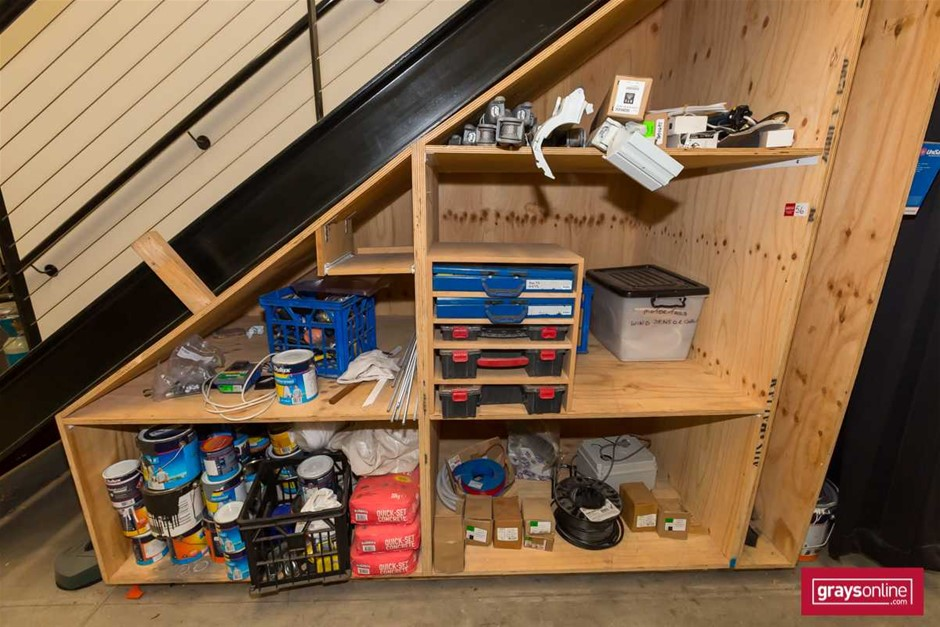 Custom Built Storage Cabinet (Under Stair) and Contents