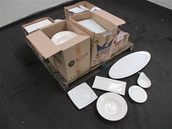 Large Quantity of Crockery Dishes White