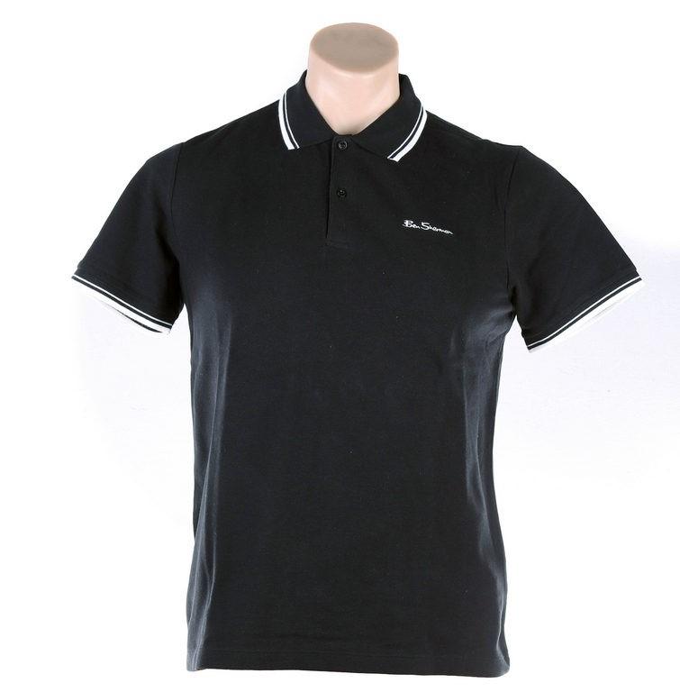 BEN SHERMAN Men`s Basic Script Polo Shirt, Size S, 100% Cotton, Black w/ Wh