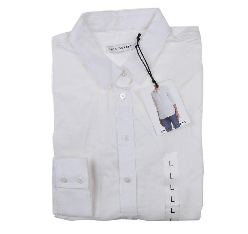 SPORTSCRAFT Women`s Summer Shirt, Size L, Cotton/Elastane, White. Buyers No