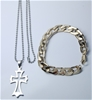 Men's huge gold plated Cuban bracelet and stainless steel necklace.