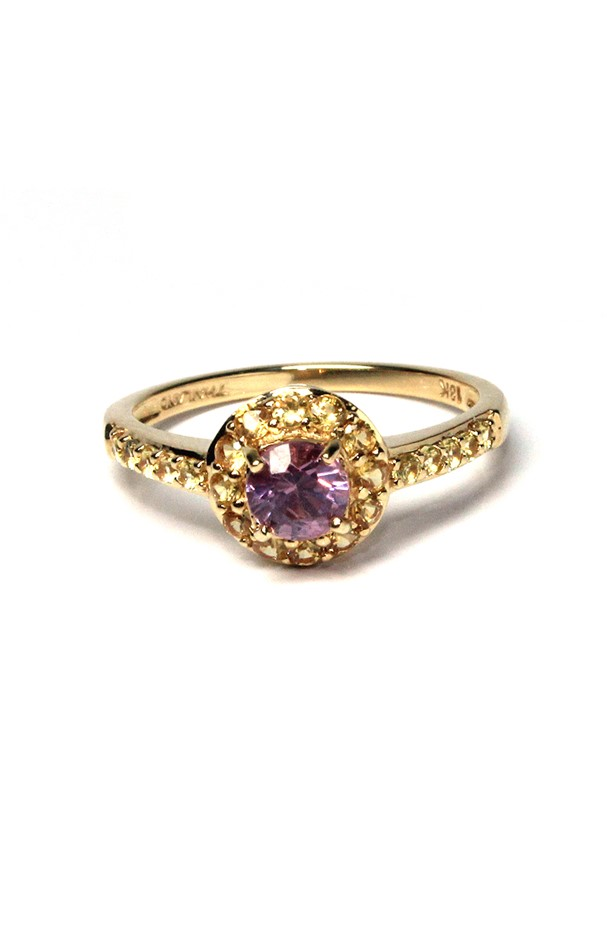 18ct Yellow Gold, 0.90ct Purple Spinel and Yellow Sapphire Ring