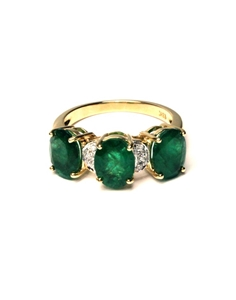 18ct Yellow Gold, 3.14ct Emerald and Dia