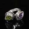 >Sterling silver natural amethyst and peridot ring