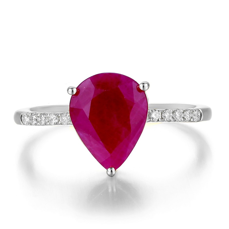 9ct White Gold, 2.93ct Ruby and Diamond Ring